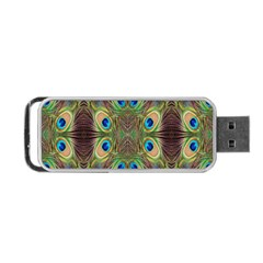 Beautiful Peacock Feathers Seamless Abstract Wallpaper Background Portable Usb Flash (two Sides) by Simbadda