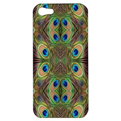 Beautiful Peacock Feathers Seamless Abstract Wallpaper Background Apple Iphone 5 Hardshell Case by Simbadda