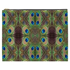 Beautiful Peacock Feathers Seamless Abstract Wallpaper Background Cosmetic Bag (xxxl)  by Simbadda