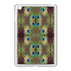 Beautiful Peacock Feathers Seamless Abstract Wallpaper Background Apple Ipad Mini Case (white) by Simbadda
