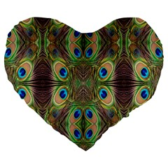 Beautiful Peacock Feathers Seamless Abstract Wallpaper Background Large 19  Premium Heart Shape Cushions by Simbadda