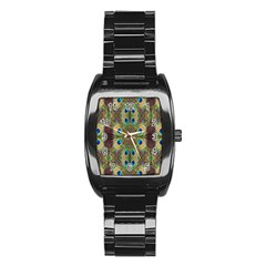 Beautiful Peacock Feathers Seamless Abstract Wallpaper Background Stainless Steel Barrel Watch by Simbadda