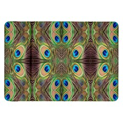 Beautiful Peacock Feathers Seamless Abstract Wallpaper Background Samsung Galaxy Tab 8 9  P7300 Flip Case by Simbadda