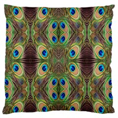 Beautiful Peacock Feathers Seamless Abstract Wallpaper Background Large Flano Cushion Case (two Sides) by Simbadda