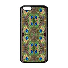 Beautiful Peacock Feathers Seamless Abstract Wallpaper Background Apple Iphone 6/6s Black Enamel Case by Simbadda