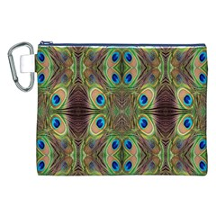 Beautiful Peacock Feathers Seamless Abstract Wallpaper Background Canvas Cosmetic Bag (xxl) by Simbadda