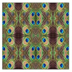 Beautiful Peacock Feathers Seamless Abstract Wallpaper Background Large Satin Scarf (square) by Simbadda