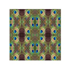 Beautiful Peacock Feathers Seamless Abstract Wallpaper Background Small Satin Scarf (square) by Simbadda