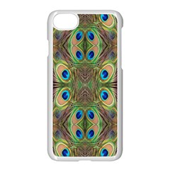Beautiful Peacock Feathers Seamless Abstract Wallpaper Background Apple Iphone 7 Seamless Case (white) by Simbadda