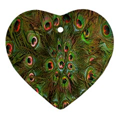 Peacock Feathers Green Background Ornament (heart) by Simbadda