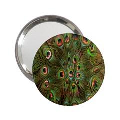 Peacock Feathers Green Background 2 25  Handbag Mirrors by Simbadda