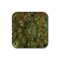 Peacock Feathers Green Background Rubber Square Coaster (4 Pack)  by Simbadda