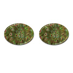 Peacock Feathers Green Background Cufflinks (oval) by Simbadda