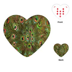 Peacock Feathers Green Background Playing Cards (heart)  by Simbadda