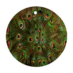 Peacock Feathers Green Background Round Ornament (two Sides) by Simbadda