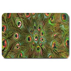 Peacock Feathers Green Background Large Doormat  by Simbadda