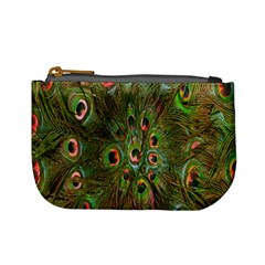Peacock Feathers Green Background Mini Coin Purses by Simbadda