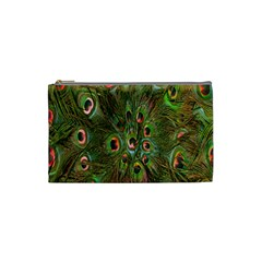 Peacock Feathers Green Background Cosmetic Bag (small)  by Simbadda