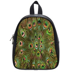 Peacock Feathers Green Background School Bags (small)  by Simbadda