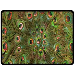 Peacock Feathers Green Background Fleece Blanket (large)  by Simbadda