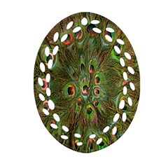 Peacock Feathers Green Background Oval Filigree Ornament (two Sides) by Simbadda