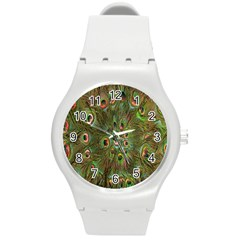 Peacock Feathers Green Background Round Plastic Sport Watch (m) by Simbadda