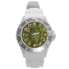 Peacock Feathers Green Background Round Plastic Sport Watch (l) by Simbadda