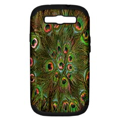 Peacock Feathers Green Background Samsung Galaxy S Iii Hardshell Case (pc+silicone) by Simbadda