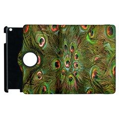 Peacock Feathers Green Background Apple Ipad 2 Flip 360 Case by Simbadda