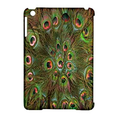 Peacock Feathers Green Background Apple Ipad Mini Hardshell Case (compatible With Smart Cover) by Simbadda