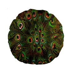Peacock Feathers Green Background Standard 15  Premium Round Cushions by Simbadda