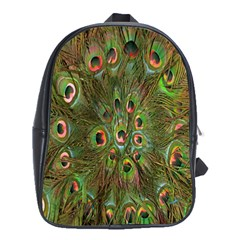 Peacock Feathers Green Background School Bags (xl)  by Simbadda