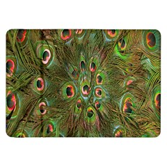 Peacock Feathers Green Background Samsung Galaxy Tab 8 9  P7300 Flip Case by Simbadda