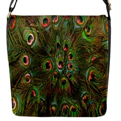 Peacock Feathers Green Background Flap Messenger Bag (s) by Simbadda