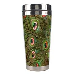 Peacock Feathers Green Background Stainless Steel Travel Tumblers by Simbadda