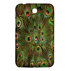Peacock Feathers Green Background Samsung Galaxy Tab 3 (7 ) P3200 Hardshell Case  by Simbadda