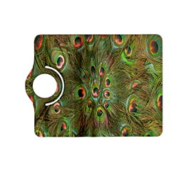 Peacock Feathers Green Background Kindle Fire Hd (2013) Flip 360 Case by Simbadda