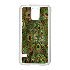Peacock Feathers Green Background Samsung Galaxy S5 Case (white) by Simbadda