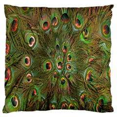 Peacock Feathers Green Background Large Flano Cushion Case (two Sides) by Simbadda