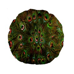 Peacock Feathers Green Background Standard 15  Premium Flano Round Cushions by Simbadda