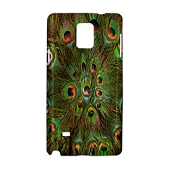 Peacock Feathers Green Background Samsung Galaxy Note 4 Hardshell Case by Simbadda