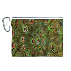 Peacock Feathers Green Background Canvas Cosmetic Bag (l) by Simbadda
