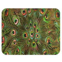 Peacock Feathers Green Background Double Sided Flano Blanket (medium)  by Simbadda