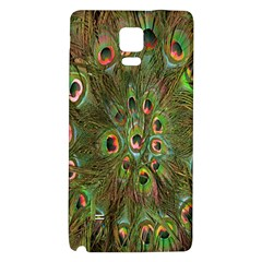 Peacock Feathers Green Background Galaxy Note 4 Back Case by Simbadda