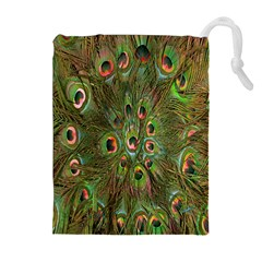 Peacock Feathers Green Background Drawstring Pouches (extra Large) by Simbadda