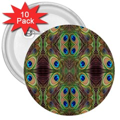 Beautiful Peacock Feathers Seamless Abstract Wallpaper Background 3  Buttons (10 Pack)  by Simbadda
