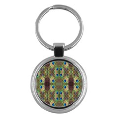 Beautiful Peacock Feathers Seamless Abstract Wallpaper Background Key Chains (round)  by Simbadda