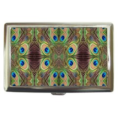 Beautiful Peacock Feathers Seamless Abstract Wallpaper Background Cigarette Money Cases by Simbadda