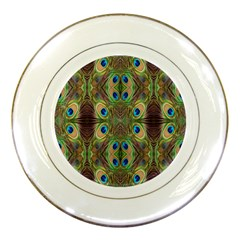 Beautiful Peacock Feathers Seamless Abstract Wallpaper Background Porcelain Plates by Simbadda