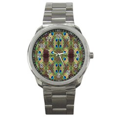 Beautiful Peacock Feathers Seamless Abstract Wallpaper Background Sport Metal Watch by Simbadda